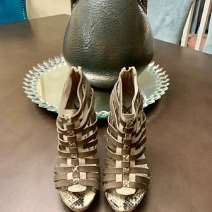 7 for all Mankind Snakeskin Cage Heels 6.5